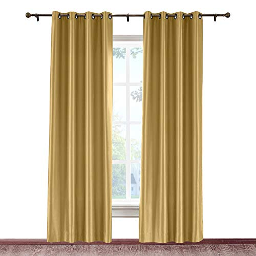 cololeaf Grommet Curtains for Living Room Anti-bacteria Luxury Faux Silk Window Curtains for Bedroom Dupioni Room Darkening Window Curtain, Gold 84