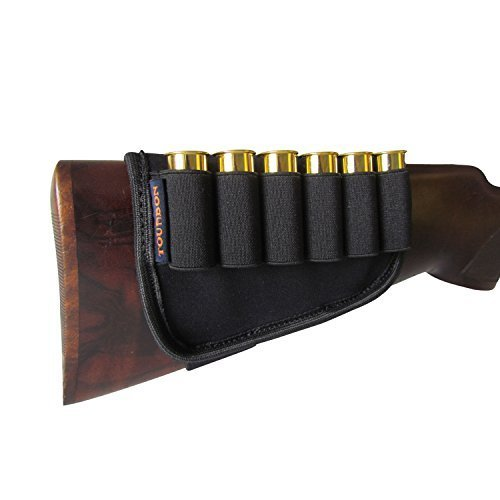 Neoprene Buttstock Shell Holders (Tourbon Black Neoprene 12 Gauge Cartridge Silde Shotgun Buttstock Shell Holder)