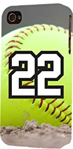 Softball Sports Fan Player Number 22 Plastic Flexible Snap On Decorative iPhone 4/4s Case