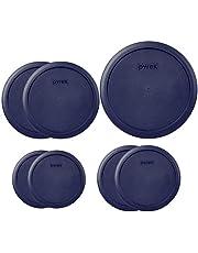 Pyrex Round Storage Cover, Blue Set Replacement Lids for Glass Bowl, 1 (6/7) Cup Blue Lid, 2 (4) Cup Blue Lids, 2 (2) Cup Blue Lids, 2(1) Cup Blue Lids, 7 Lids Total