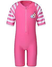 TFJH E Girls Bathing Suit Short Sleeve Swimsuit for Girls Swimwear Pink Stripe 12A