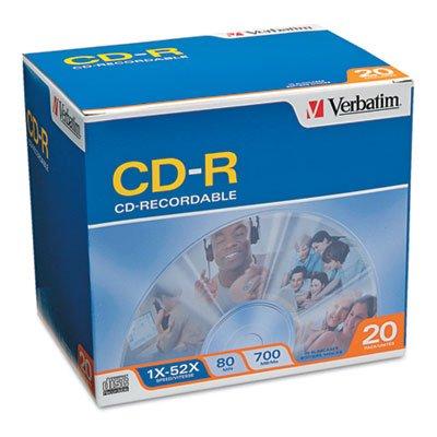 Verbatim 94936 CD Recordable Media - CD-R - 52x - 700 MB - 20 Pack Slim Case from Verbatim America, LLC