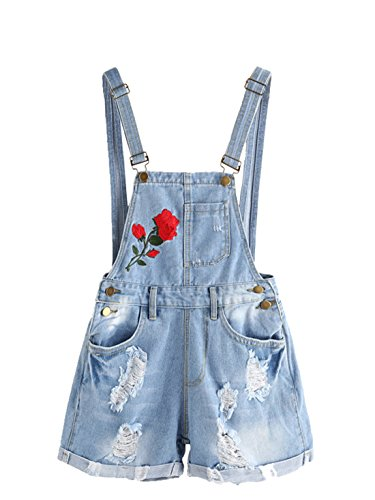 Embroidered Shortalls (MakeMeChic Women's Ripped Distressed Denim Overall Shorts Romper 2-Blue XL)