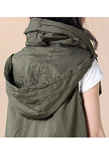 Giovane Eleganti Vintage Armygreen Outwear Con Smanicato Outdoor Cappotto Sciolto Incappucciato Giacca Donna Gilet Tasche Primaverile Autunno Fashion Casual Bv80q0
