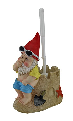 Zeckos Beach Gnome On Sandcastle Throne Toilet Brush and Holder - Commode Cottage