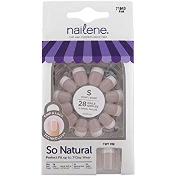Nailene So Natural Ultra Flex Nail, Pink French Short, 28 Count