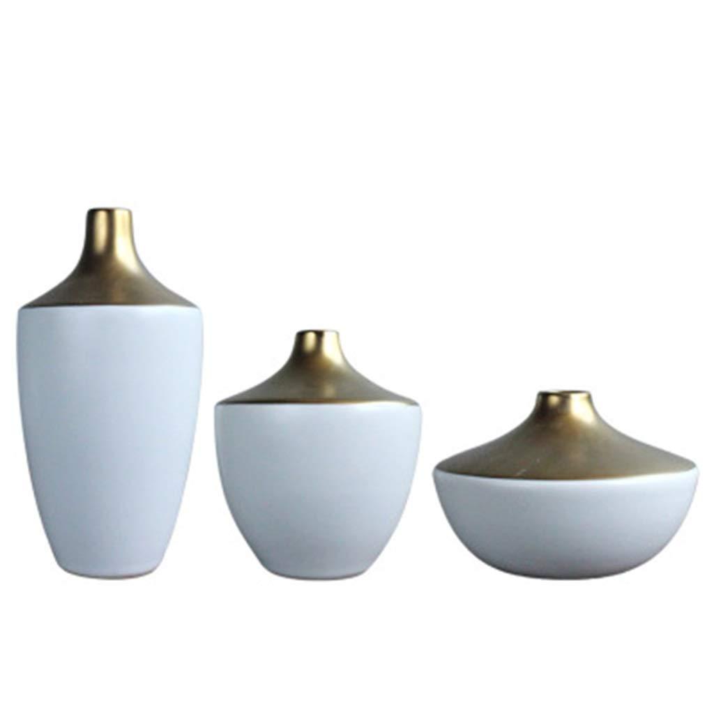 ファミリーオフィスやリビングルームに最適なドライフラワーアレンジメントに適した3つの金メッキホワイトセラミック花瓶のセット B07S7VGJWJ