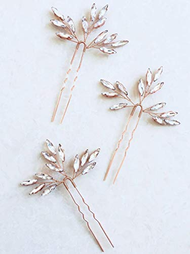Aegenacess Wedding Hair Pins Rhinestones Crystal Leaf Bridal Hair Pin Clips Combs for Brides and Bridesmaids, Women and Girls (Set of 3) #205 (rose gold)