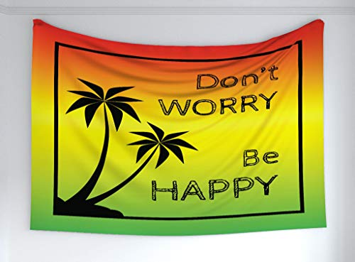 Ambesonne Rasta Tapestry, Dont Worry Be Happy Music Words of Iconic Singer Palms Ombre Colors, Fabric Wall Hanging Decor for Bedroom Living Room Dorm, 60