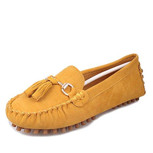 LEIT Mujer Zapatos Zapatos Planos Esmerilado Fino Ocio Boca Superficial Borla Tendón Yellow