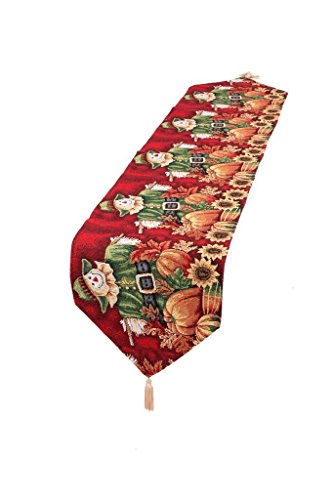 HomeCrate Fall Harvest Collection, Tapestry Scarecrow Pumpkins Autumn Leaves and Sunflowers Design Table Runner, 13