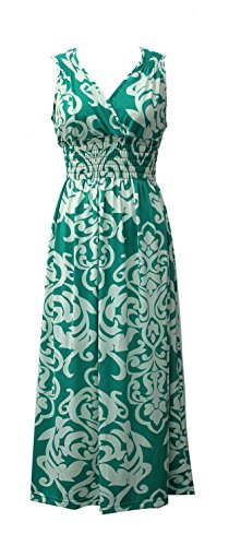 Feather Maxi Dress (Plum Feathers Exotic Print Smocked Waist Maxi Dress Plus & Regular Sizes Green Damask 2X)
