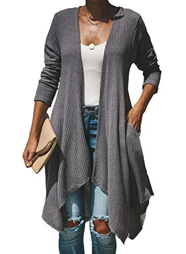 Sleeved Front Long (Happy Sailed Women Loose Fitting Casual Long Sleeved Open Front Cardigans Sweater for Fall Large Grey)