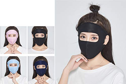 Mouth Mask Full Face Masks Summer Sun Protection UPF 50+UV ProtectiveCool Ice Silk Fabric Breathable Lightweight Washable for Women Girls Outdoor Activities (Full Face Mask 4PCS)