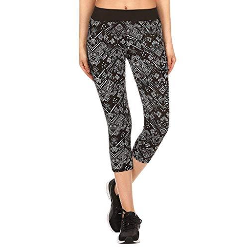 - Botrong Woman Yoga Tight Printed Pant Yoga Pants Leggings Fitness Workout Cropped Pants (Black,XL)