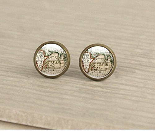 Photo Earrings Studs, Antique Brass Studs, Maps jewelry, Atlas, globe, 12mm studs, brass earrings, picture earrings from atuowq