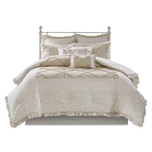 Madison Park Mindy 9 Piece Cotton Percale Comforter Set White/Tan Cal King (Tan Ruffle Comforter)
