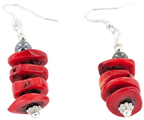 Native-Bay Authentic Made by Charlene Little Navajo Silver Hooks Coral Hematite Dangle American Earrings