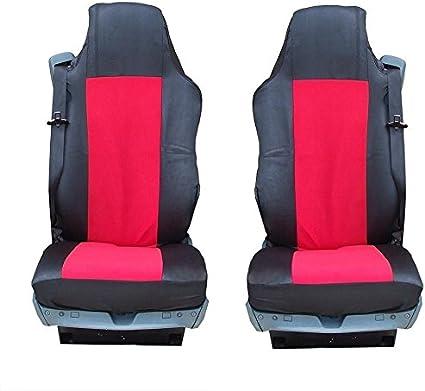 A1 2 X Lkw SitzbezÜge Schwarz Rot SchonbezÜge Polyester Neu Auto
