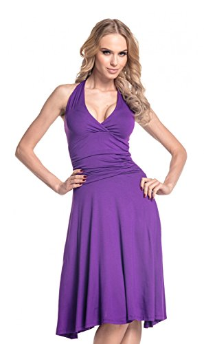 [Glamour Empire. Women's Halterneck Summer Skater Party Jersey Dress S-4XL. 145 (Purple, US 12, XL)] (Halter Jersey Tie)