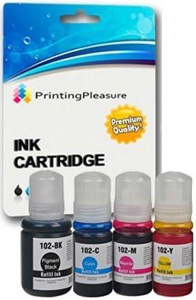Printing Pleasure 102 Pack de 4 Botellas de Tinta para Epson EcoTank ET-2700 ET-2750 ET-3700 ET-3750 ET-4750: Amazon.es: Electrónica