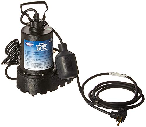 SUPERIOR PUMP 92331 High-Capacity Cast Iron Sump Pump with Tethered Float Switch, 1/3 HP