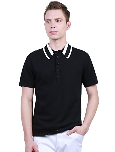 Allegra K Men Contrast-colored Collar Half Buttoned Placket Sweater Black (Buttoned Placket)