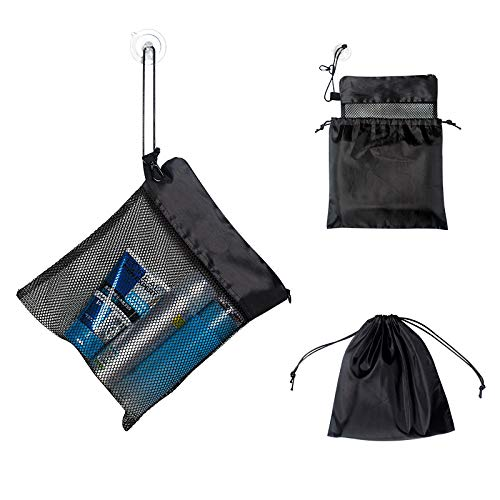 """Yihoon Mesh Shower Tote Bag Caddy - Toiletry Dorm Gym Organizer 10.5""""L x 9""""H with Suction Cup and Zipper Drawstring Pouch 11""""L x 10""""H (Black, 2 in 1)"""