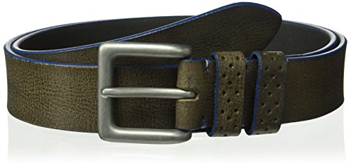 Tallia Men's Non Stitched Cut Edge Belt with Double Perforated Keeper, gray, 40