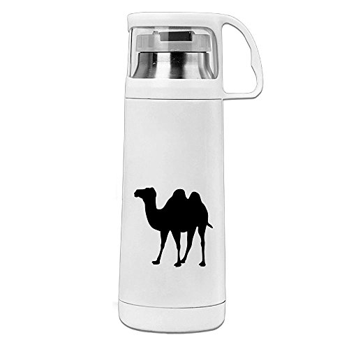 Karen Garden Camel Stainless Steel Vacuum Insulated Water Bottle Leak Proof Handled Mug White,12oz