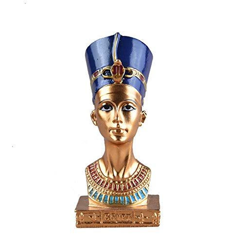 ZAMTAC ElimElim Cleopatra Head Portrait Figurine Resin Arts Crafts Egypt Home Decor Miniature Ornaments]()
