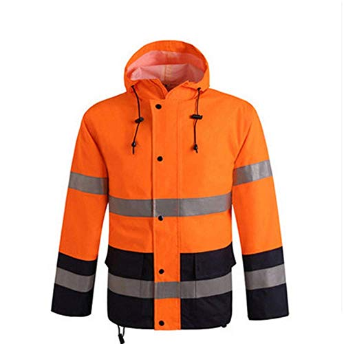 - LLDDP Protective Workwear Waterproof Rain Jacket, Reflective Safety Raincoat Hooded Poncho Work Outdoor Activities, Fluorescent Red Reflective Vests Safety Apparel (Size : XL)
