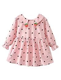 Mud Kingdom Little Girls Spring and Autumn Long Sleeve Strawberry Dress