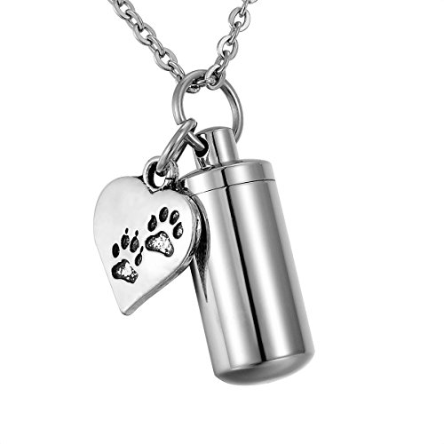 HooAMI Pet Dog Paw Heart Charm & Cylinder Memorial Urn Necklace Stainless Steel Cremation Jewelry (Pet Necklace)