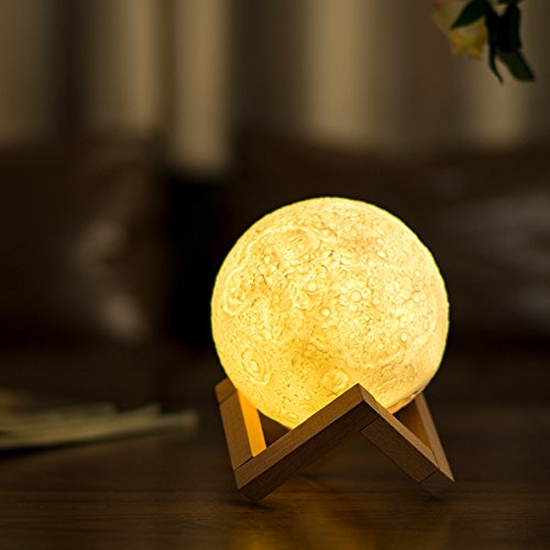 Night Light Lighting LED 3D Printing Warm Moon Lamp Touch Control Brightness Gift For Kids And Halloween equipment (6 Inch)