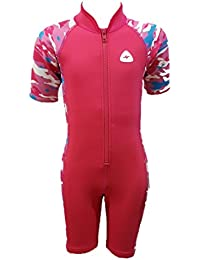 FIN WHALE Girls Swimsuit Soldier Short Pink UPF 50++ Neoprene (Age 6)
