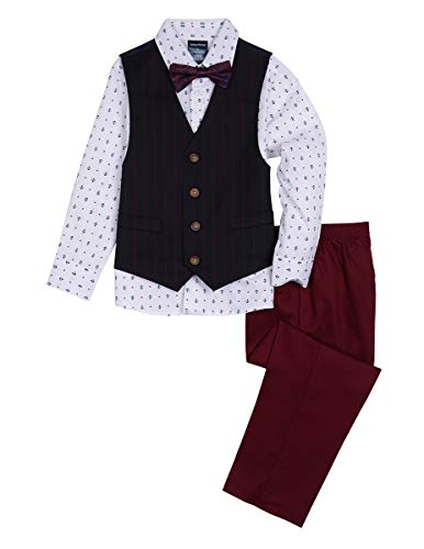 (Nautica Boys' 4-Piece Vest Set with Dress Shirt, Bow Tie, Vest, and Pants, dark navy blue, 16)