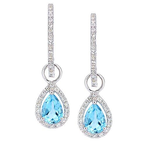 Revoni Bague en or blanc 9carats-Diamant et Topaze Bleu Goutte Boucles d'oreilles créoles