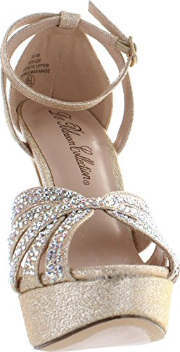 De Blossom Collection Womens Vice-229 Schitterende Sparkle Dress Party Sandaalpumps Nude Sparkle