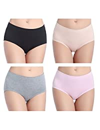 wirarpa Womens Soft Cotton Stretch Underwear 4 Pack Mid Rise Brief Panties