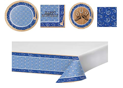Blue Bandana Cowboy Birthday Complete Party Bundle for 16: Large/Small Plates, Lunch/BEV Napkins, Plastic Table Cover