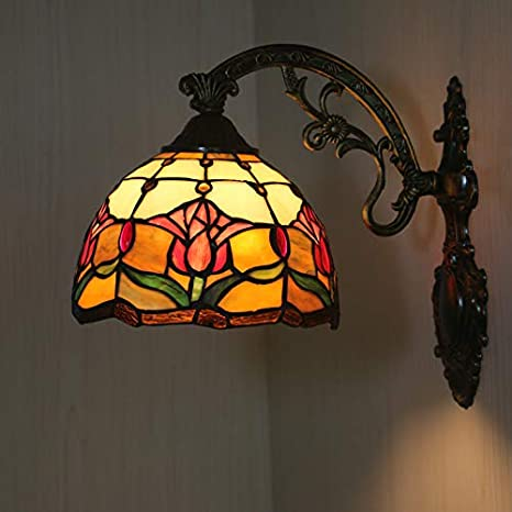 Fumat Tiffany Wall Sconce Light Led E26 Wall Lighting Fixture Zinc Alloy Base Lights For Hallway Living Room 8 Inch Hand Made Stained Glass Shade Tulips Flower Wall Lamp Amazon Com
