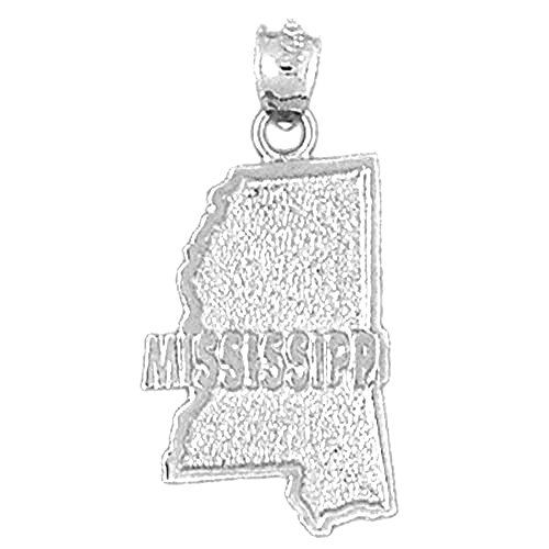Jewels Obsession Mississippi Pendant | 14K White Gold Mississippi Pendant - 28 mm