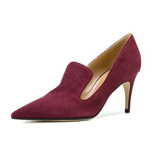 (YDN Women's Low Heels Slip on Loafer Stilettos Pumps Pointy Toe Slide Suede Prom Shoes Wine Red 10)