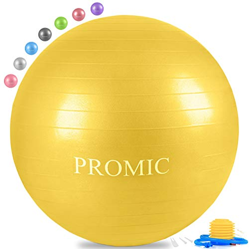 PROMIC Exercise Ball (45 cm) Children's Balance Ball with Foot Pump - Alternative Classroom Seating, Flexible School Chair, Active Classroom Desk Seating, Yellow ()