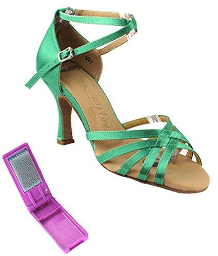 Scarpe Da Ballo Latino Fine Per Ballare Tango Salsa Da Sera Per Donna Sera2613 Tacco 3 Pollici + Spazzola Pieghevole In Raso Verde