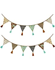 12Pcs/13Ft Fabric Triangle Flags Cotton Tassel Banner, Vintage Floral Bunting Pennant Garland for Wedding,Birthday Parties,Baby Shower,Festivals,Nursery,Home,Outdoor Boho Hanging Decoration(Brown)