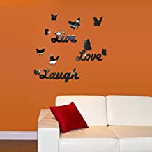 Revesun Black DIY Mirror Butterfly Live Love Laugh Wall Sticker Home Decorations for Art Decal Free Shipping