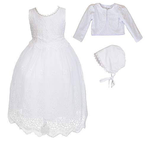 Cinda Babywitte kanten jurk en muts