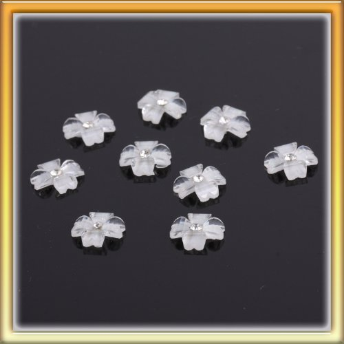 Acctractive White3D Flower Bling Bling Rhinestone Nail Art Sticker DIY 10pcs B0014